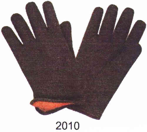 Red Lined Brown Jersey Gloves