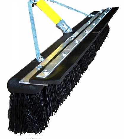 "24"" Floor Brush - SOFT Plastic Bristle, Foam Head w/ Squeegee Blade"