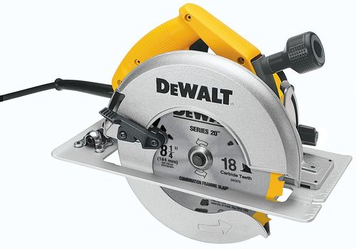 DEWALT DW384 8-1/4-Inch Circular Saw with Brake and Rear Pivot Depth of Cut Adjustment