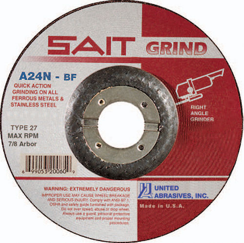 "SAIT Type 27 A24N Grade 5"" x 1/4"" x 7/8"" Fast Depressed Center Grinding Wheel"