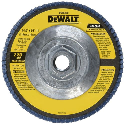 "DeWalt 4-1/2"" x 7/8"" x 11"" 80 Grit Type 27 Flap Disc"