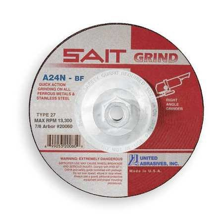 "SAIT Type 27 A24N Grade 4 1/2"" x 1/4"" x 5/8-11"" Fast Depressed Ctr Grinding Wheel"
