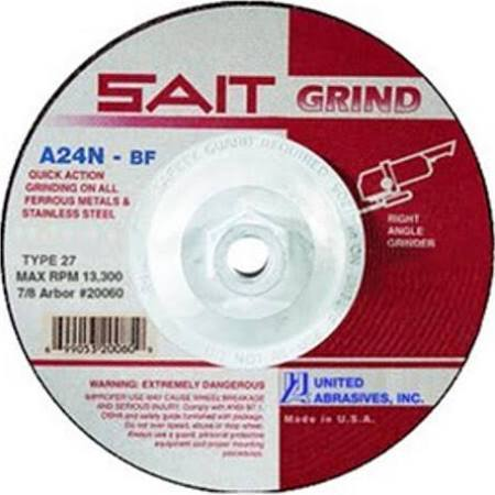 "SAIT Depressed Ctr T27 7"" x 1/4"" x 5/8-11"" Grinding Wheel"