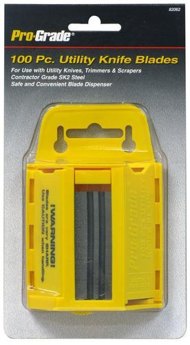 PRO-GRADE 100 Pc. Utility Knife Blades with Dispenser