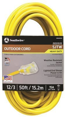 SOUTHWIRE SJTW 12/3 50' Vinyl Extension Cord with Lighted End Yellow