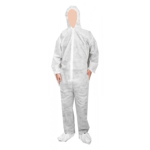 LUCO Polypropylene White Coverall w/Hood and Boots (Large)
