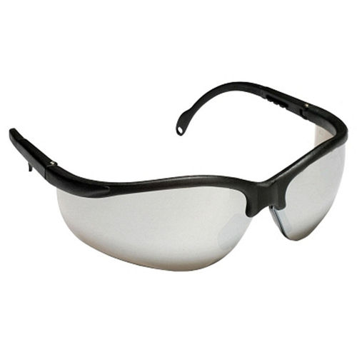 CORDOVA Boxer Black Safety Glasses, Silver Mirror Lens, Extendable Temples