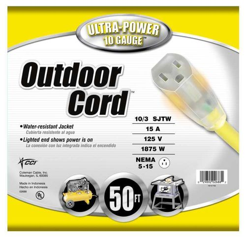 COLEMAN CABLE Extension Cord Outdoor, 10/3 SJTW, 50 ft