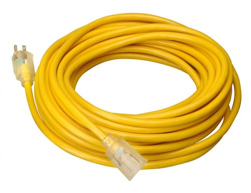 COLEMAN CABLE 25' 12/3 SJTW Yellow Extension Cord w/ Lighted End