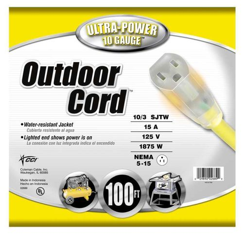COLEMAN CABLE Extension Cord Outdoor, 10/3 SJTW, 100 ft