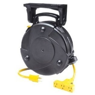 PROREEL 40' Tri-Tap Retractable Extension Cord Reel, Circuit Breaker Protected