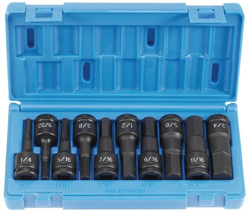 "GREY PNEUMATIC 1/2"" Drive Hex Driver Fractional Socket Set - 10 Piece"