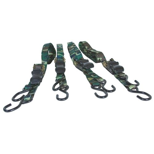 PERFORMANCE TOOL 4 Pc Ratcheting Tie Down Set, WLL 400lb,