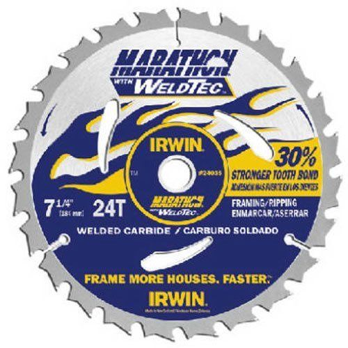 "IRWIN Marathon Weldtec 7-1/4"" Framing/Ripping Saw Blade, 24T"