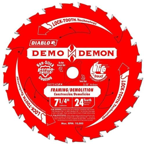 "DIABLO 7-1/4"" Framing/Ripping Saw Blade, 24T"