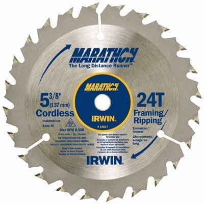 "IRWIN Marathon 5-3/8"" Framing/Ripping Saw Blade, 24T, Cordless"