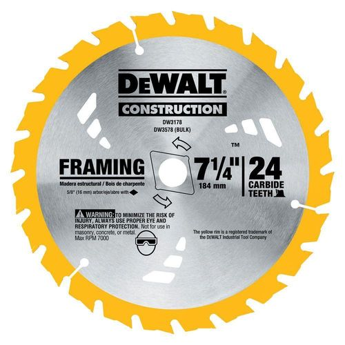 "DEWALT 7-1/4"" Framing Saw Blade, 24T, Thin Kerf"