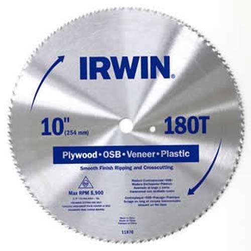 "IRWIN 10"" High-Carbon Steel Smooth Finish Circular Saw Blade, 180T"