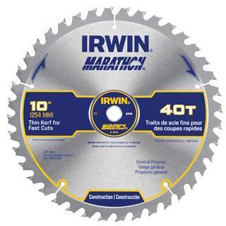 "IRWIN  Marathon 10"" General Purpose Table/Miter Saw Blade, 40T"