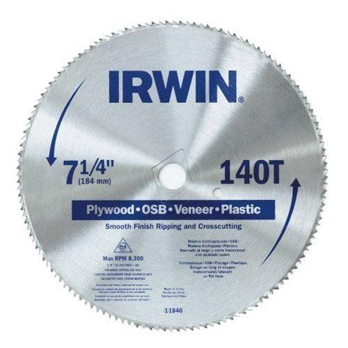 "IRWIN 7-14"" Smooth Finish Circular Saw Blade, 140T"