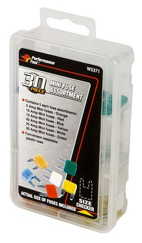 PERFORMANCE TOOL Mini Fuse Assortment, 30 Pcs