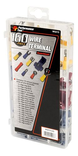 PERFORMANCE TOOL Wire Terminal Assortment, 160 Pcs