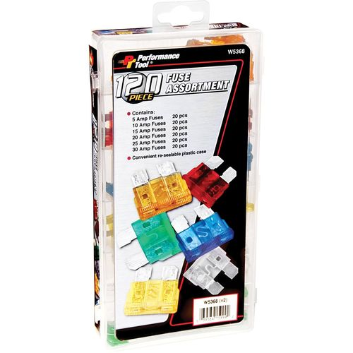 PERFORMANCE TOOL Standard Blade Fuse Assortment, 120 Pcs
