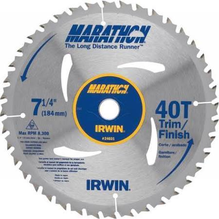 "IRWIN Marathon 7-1/4"" 40-Tooth Trim Finish Circular Saw Blade"