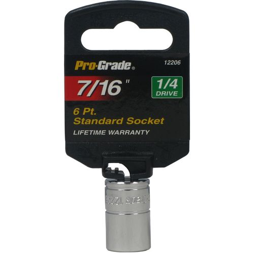 "PRO-GRADE 1/4"" Drive 6 Point 7/16"" Standard Socket"