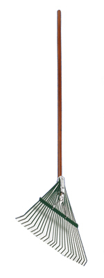 "WOLVERINE 54"" Wood Handle Leaf Rake, 24"" Wide Steel Head w/ Brace"