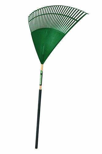 "TRUPER Tru Tough 30"" Plastic Leaf Rake, Wood Handle"